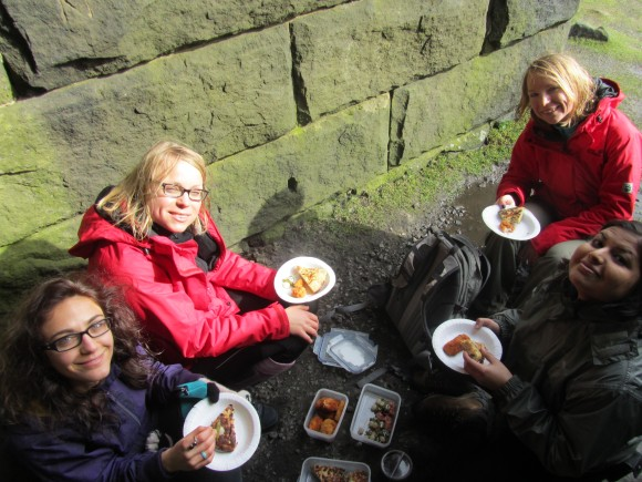 Eating tapas on Stoodley Pike